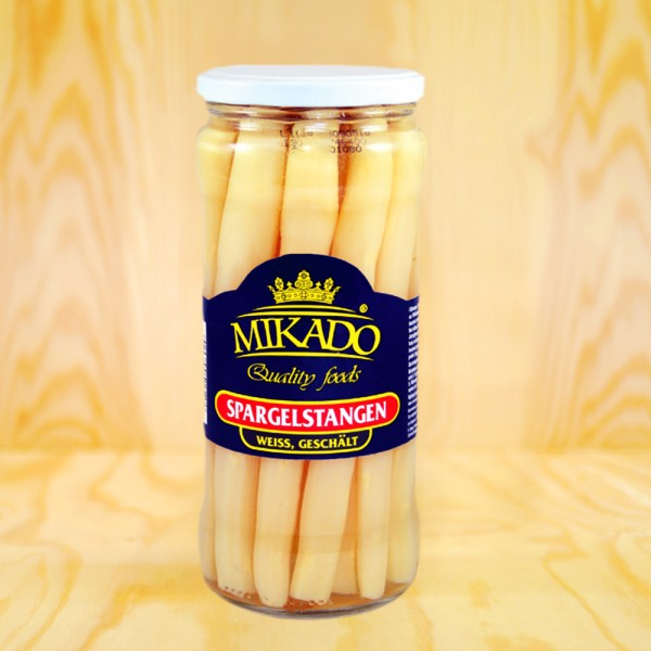 Asparagus spears, white, peeled, white tips
