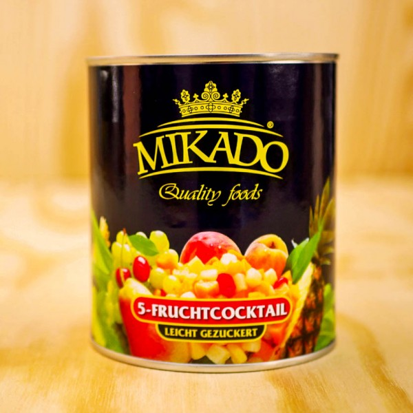 Fruitcocktail – traditional 5 fruits, in light syrup
