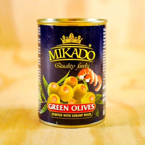 Olives, green, stuffed with Shrimps